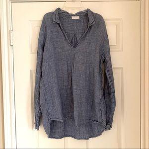 CP Shades Blue Chambray Linen Tunic